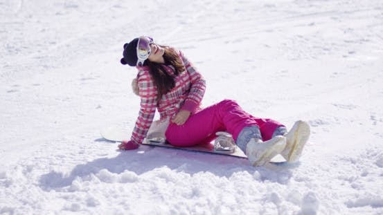 Thumbnail for Happy Young Woman Sat on Snowboard