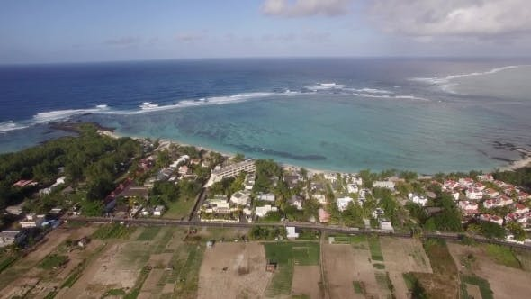 Thumbnail for Aerial Shot of Mauritius Coast and Indian Ocean