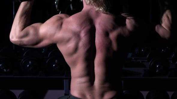 Thumbnail for Torso of Bodybuilder Who Is Training in a Gym