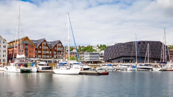 Cover Image for View of a Marina in Tromso, North Norway