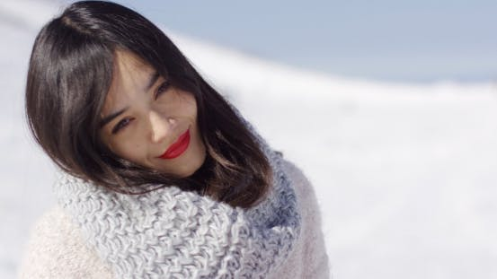 Thumbnail for Happy Cute Asian Girl Enjoying Her Winter Time