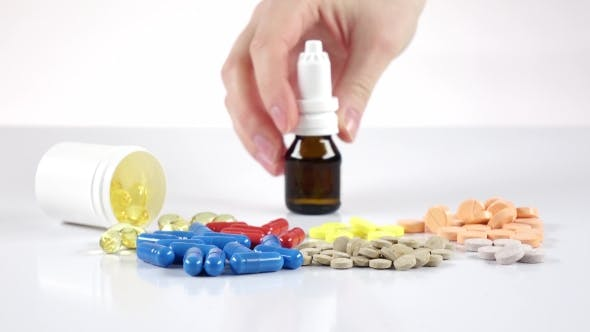 Thumbnail for Lot of Pills and Doctor Puts Bottles with Mixture on the Table, White