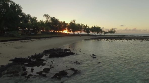 Thumbnail for Aerial View of Mauritius Coast and Sunset Over the Ocean