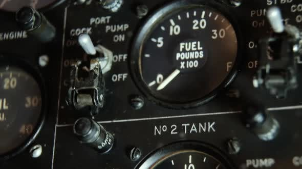 Thumbnail for Aircraft Fuel Gauge Indicator in a Vintage War Plane.