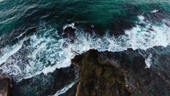 Thumbnail for Flying Above Beautiful Wavy Seashore at Evening