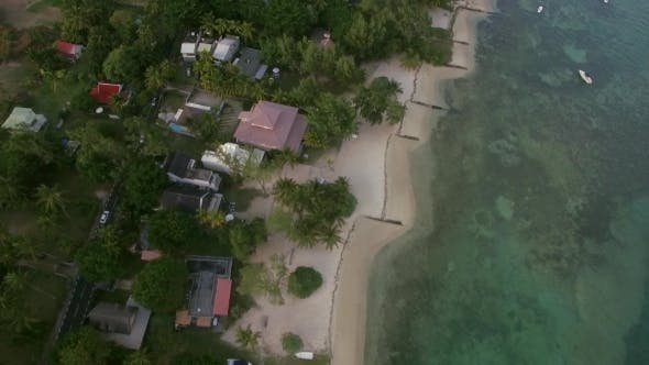 Thumbnail for Aerial Bird Eye View of Coast with Sand Beach and Transparent Water of Indian Ocean, Mauriticus