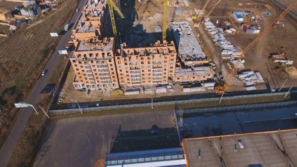 Thumbnail for Construction Site with a Bird's Eye. Shooting with Drone. Building in the Field