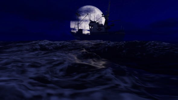 Thumbnail for Fishing Boat in Ocean at Night 1