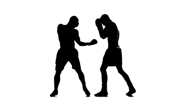 Thumbnail for Coaching Left Hand Blows. Silhouette of Boxers