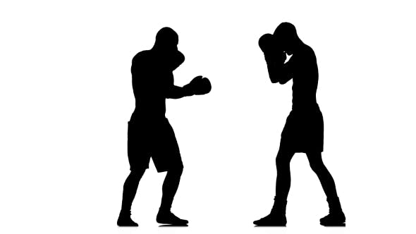 Thumbnail for Serie Blows and Blocks at the Training Two Boxers. Silhouette
