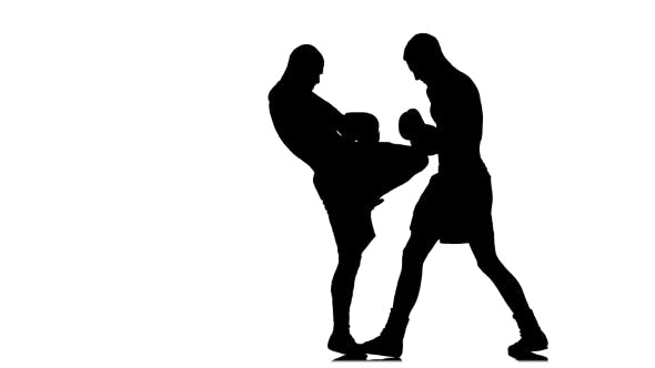 Thumbnail for Kickboxers Fulfill Knee Kick To the Body. Black Silhouette