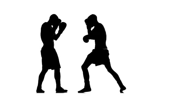 Thumbnail for Two Young Fighters Train Left Hook To the Head. Silhouette