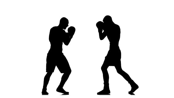 Thumbnail for Two Brawny Athlete Are Boxing with Each Other. Silhouette