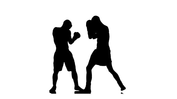 Thumbnail for Boxer Knockout Opponent After a Short Fight. Black Silhouette