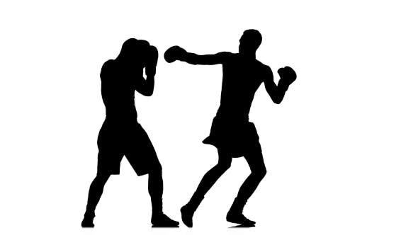 Thumbnail for Training Punch with Turn of the Body. Silhouette of Boxers