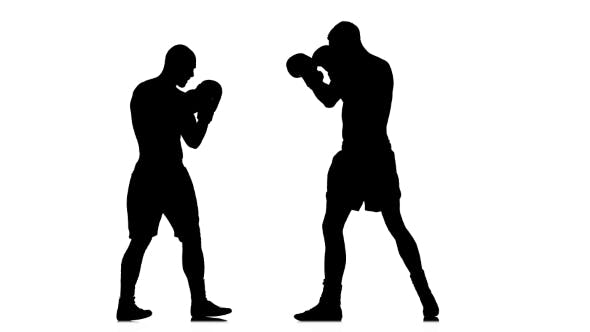 Thumbnail for Men Kickboxers Train Punches and Kicks. Silhouette