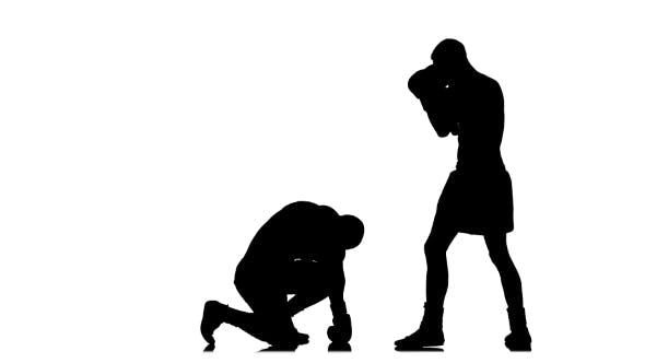 Thumbnail for Boxer Knocked Down. Silhouette on White Background