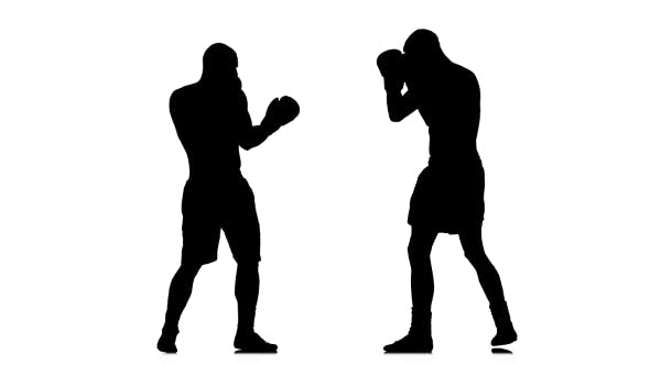Thumbnail for Kickboxers Are Training Kicked in the Head. Black Silhouette