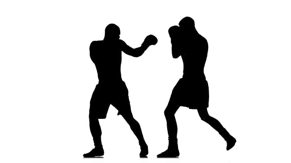 Thumbnail for Non-contact Boxing. Silhouette on White Background