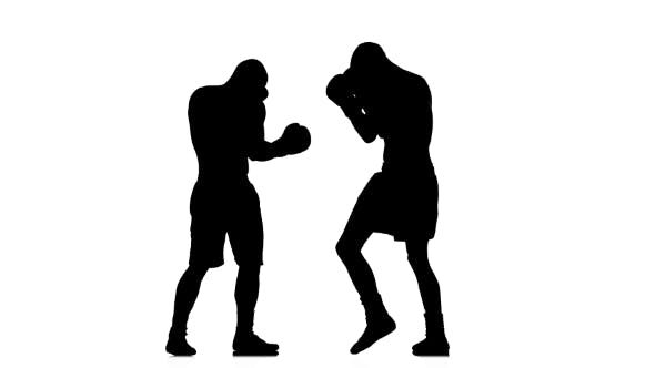 Thumbnail for Tired Opponent Enters the Boxer To Clinch. Black Silhouette