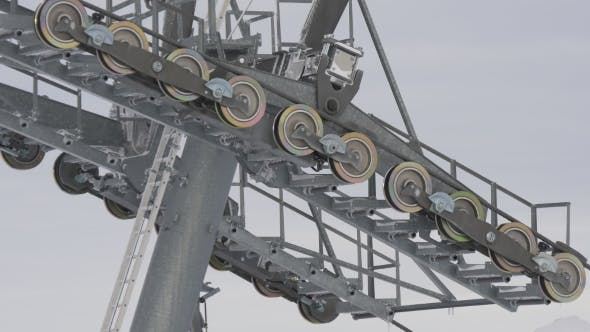 Thumbnail for Prop of Ski Lift with Rotating Rollers and Cable