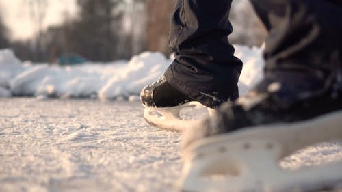 Amateur Ice Skater on Frozen Lake