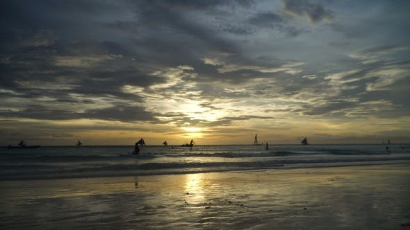Thumbnail for Beautiful Sunset Over Sea. Boracay Island Philippines