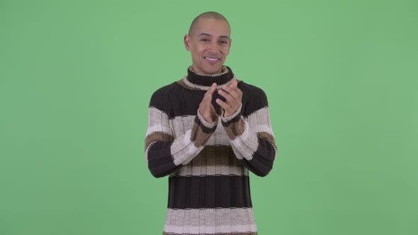 Thumbnail for Happy Bald Multi Ethnic Man Clapping Hands