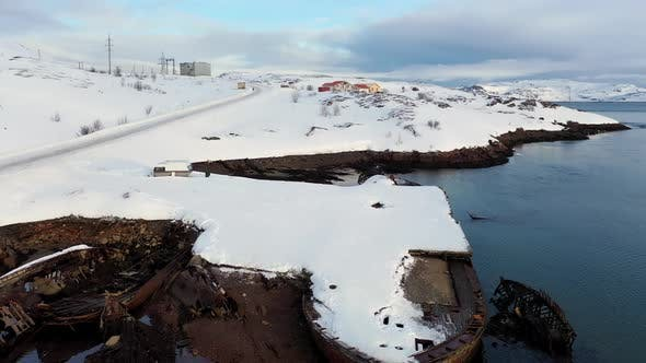 Thumbnail for Aerial view of winter snowy sea coast
