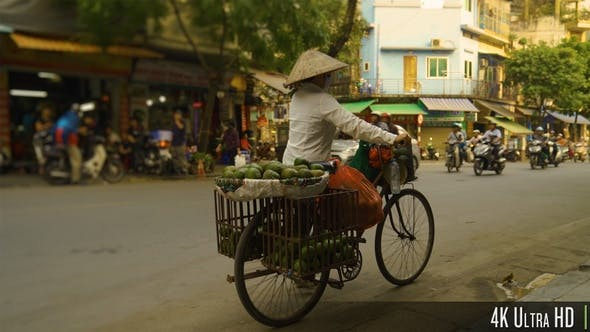 Thumbnail for 4K Vietnamese Woman Selling Fruit on a Bike in the Streets of Hanoi, Vietnam