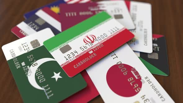 Emphasized Bank Card with Flag of Iran