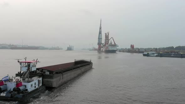 Thumbnail for Aerial View of a Bulk Carrier Ship Used for Moving Silt and Sand