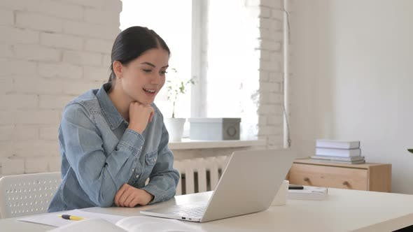 Thumbnail for Online Video Chat on Laptop by Young Girl