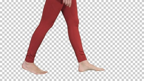 Womans legs are bare and taking steps Yoga, Alpha Channel