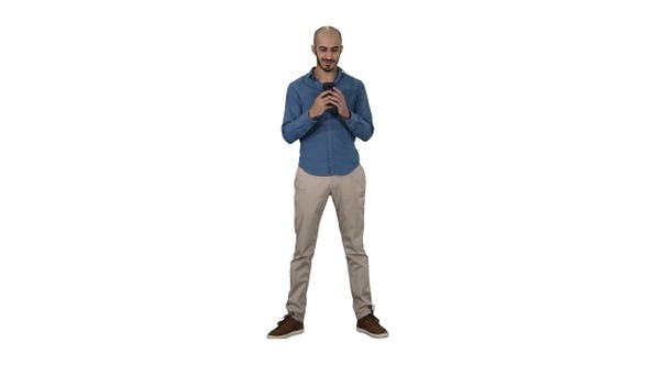 Thumbnail for Casual Man Using Cell Smart Phone Writing Message on white