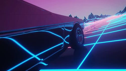 Retro Car of the Future, Retrowave Style Back To the 1980's