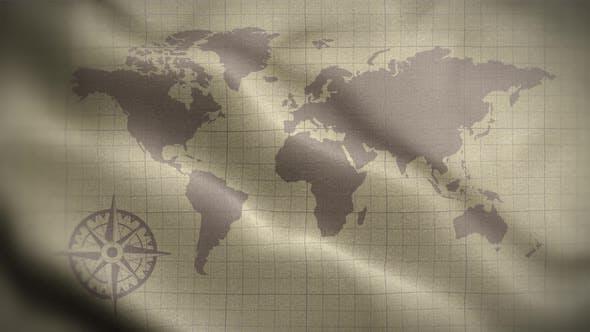 World Map Old 01 Flag Loop Background 4K