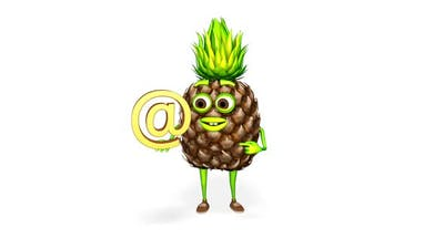 Pineapple Character Shows Email Loop On White Background