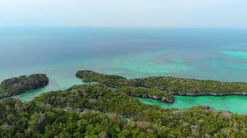 Aerial: Flying Over Tropical Paradise Pristine Coast Line Rainforest, Indonesia Moluccas Archipelago