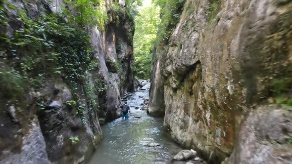 Walking Canyon River Aerial Drone