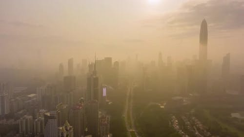 Shenzhen City in Morning in Haze. China. Aerial View