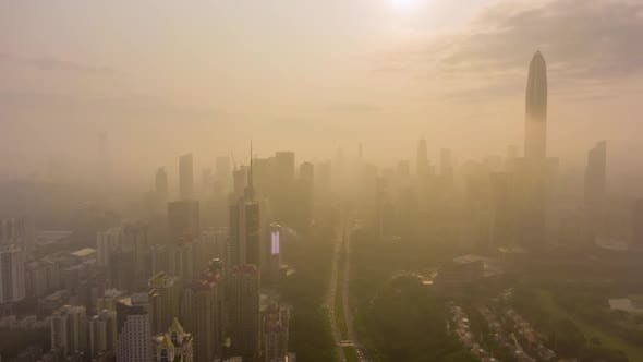 Thumbnail for Shenzhen City am Morgen in Haze. China. Luftaufnahme