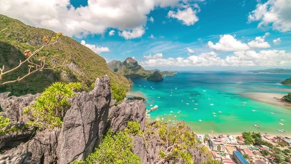 Cover Image for Aerial View of El Nido Lagoon Bay From the Top Mountain Taraw Cliff on the Palawan Island