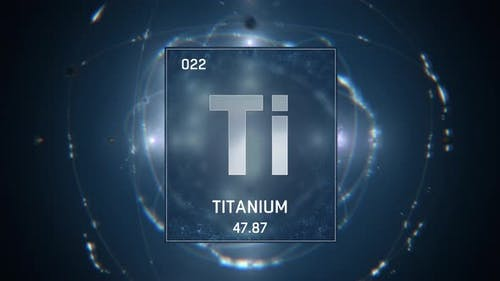 Titanium as Element 22 of the Periodic Table on Blue Background