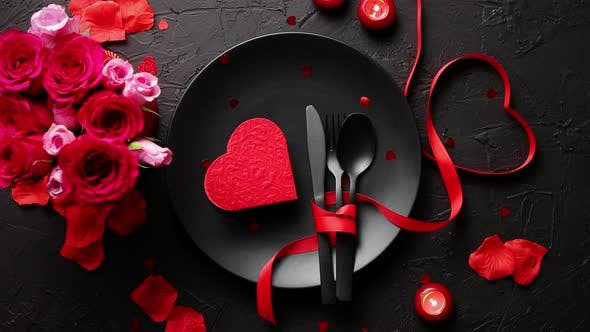 Thumbnail for Valentines Day, Table Setting and Romantic Dinner Concept.