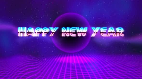 Animation intro text Happy New Year and retro abstract circle on grid, retro holiday background