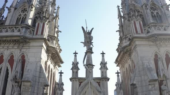 Close Up Monuments of Roman Catholic Church of Saint Nicolas in Kyiv. Aerial Footage