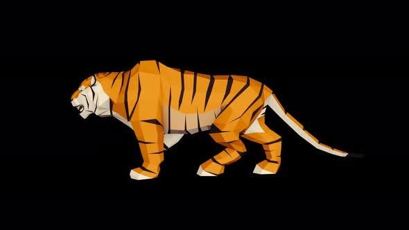 Thumbnail for 4K Low Poly Tiger Walk