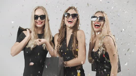 Thumbnail for Confetti Falling on Smiling Ladies