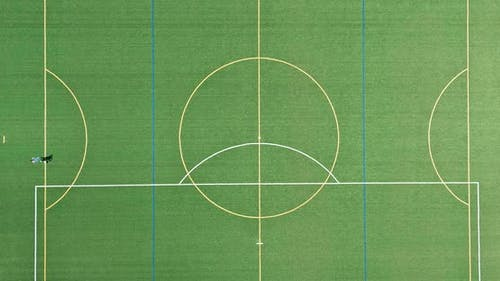 Aerial panoramic view in green grass soccer field